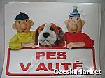 Naklejka Pat i Mat -  Pies w samochodzie - serial Sąsiedzi - wymiary:  12 cm / 15 cm