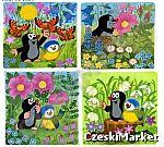 Podkładki korkowe 4 szt. pod szklanki Krecik - łąka, ptaszek, motylki, kwiaty
