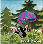 Obrazek, podkładka korkowa Krecik i parasol 25 cm