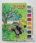 Krecik - 21/23 cm Kreatywny zestaw malowanka -  zestaw plastyczny 16 pięknych rysunków do malowania, 8 farbek, pędzel