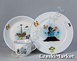 Łódka Porcelanowy zestaw dla dzieci Krecik - talerz głęboki, płytki oraz kubek