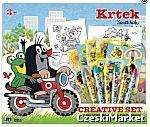 Krecik -  31/35,5 cm  Kreatywny zestaw -  zestaw plastyczny 10 plakatów do kolorowania, 2 arkusze do szkicowania, 6 jumbo kredek, 5 arkuszy naklejek