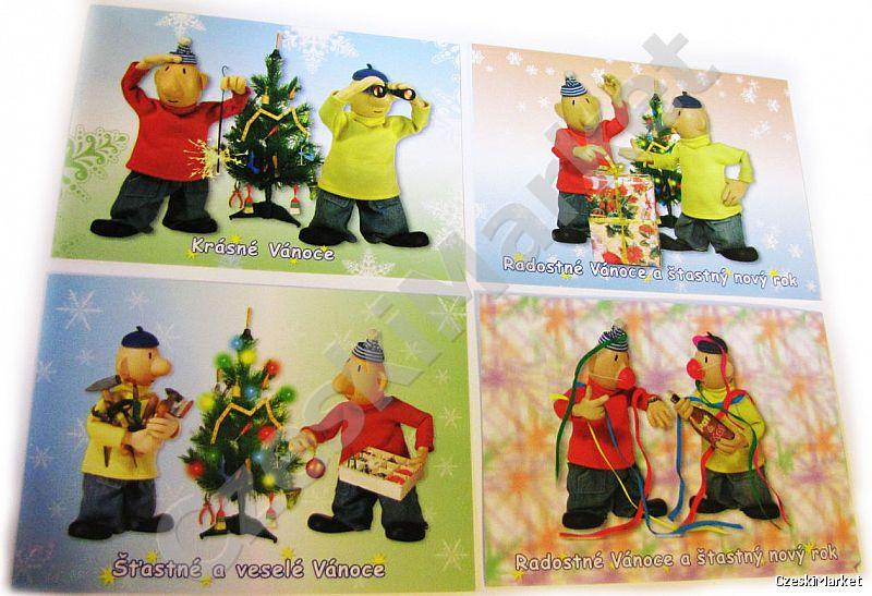 Pocztówka Pat I Mat Serial Sąsiedzi świąteczne Wzory