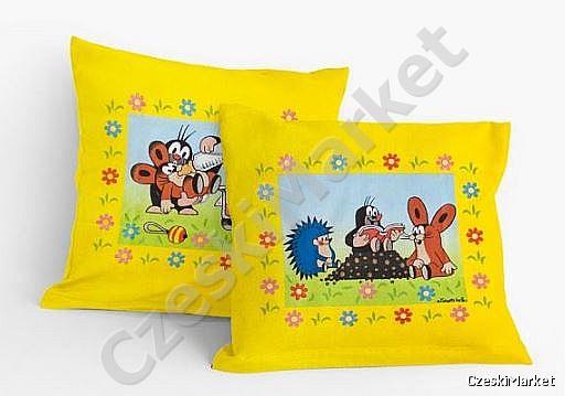 Poszewka 2 obrazki dwustronna na poduszkę / jasiek, czyta, książka, wózek - Krecik - 42 cm